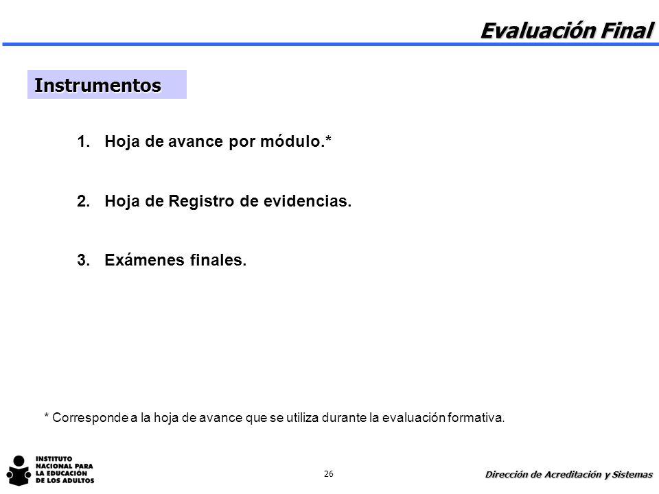 Evaluación Final 1 Reconocer y acreditar las competencias desarrolladas en los módulos. 1 Certificar primaria y secundaria. 1 Realimentar el proceso e