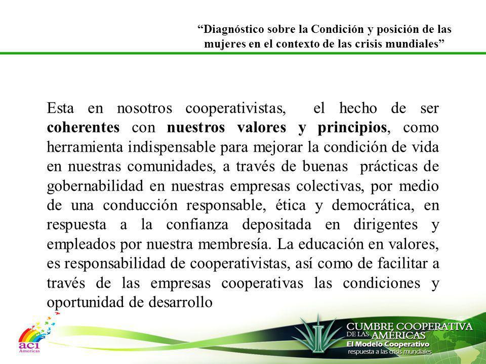 Esta en nosotros cooperativistas, el hecho de ser coherentes con nuestros valores y principios, como herramienta indispensable para mejorar la condici