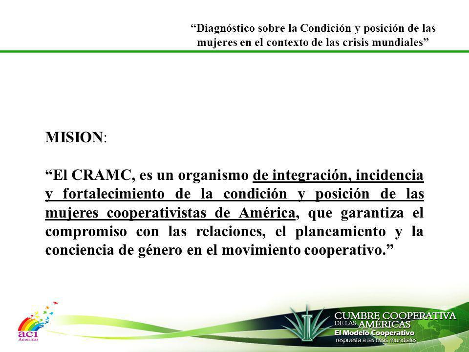MISION: El CRAMC, es un organismo de integración, incidencia y fortalecimiento de la condición y posición de las mujeres cooperativistas de América, q