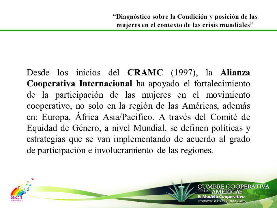 Desde los inicios del CRAMC (1997), la Alianza Cooperativa Internacional ha apoyado el fortalecimiento de la participación de las mujeres en el movimi