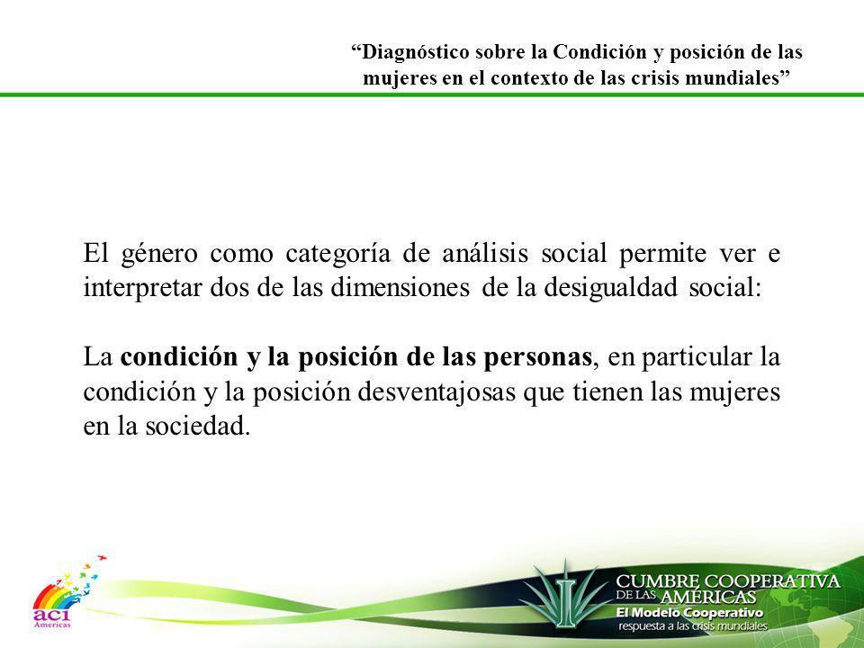 El género como categoría de análisis social permite ver e interpretar dos de las dimensiones de la desigualdad social: La condición y la posición de l