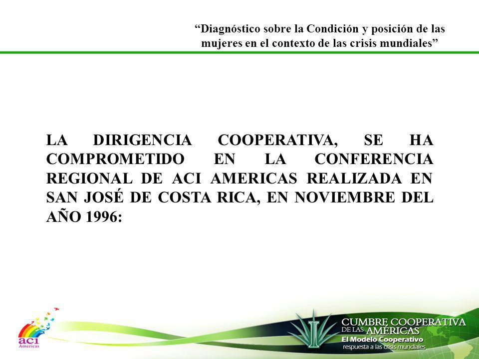 LA DIRIGENCIA COOPERATIVA, SE HA COMPROMETIDO EN LA CONFERENCIA REGIONAL DE ACI AMERICAS REALIZADA EN SAN JOSÉ DE COSTA RICA, EN NOVIEMBRE DEL AÑO 199