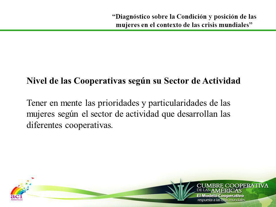 Nivel de las Cooperativas según su Sector de Actividad Tener en mente las prioridades y particularidades de las mujeres según el sector de actividad q