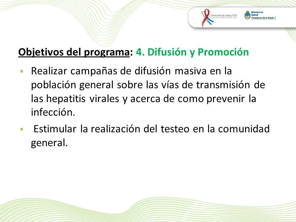 Realizar campañas de difusión masiva en la población general sobre las vías de transmisión de las hepatitis virales y acerca de como prevenir la infección.