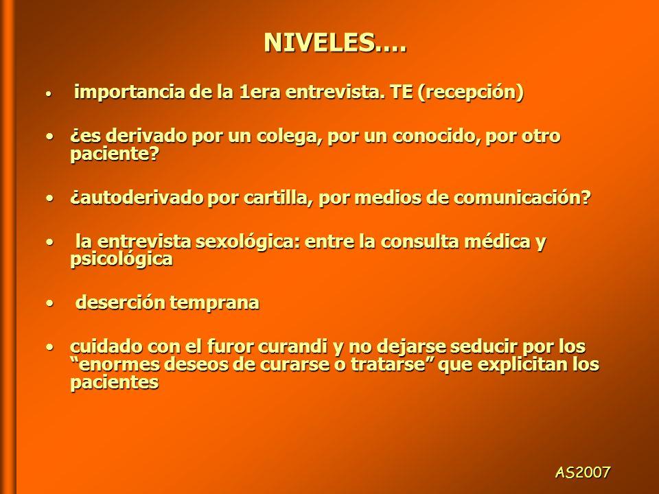 NO SÉ DE QUÉ SE TRATA PERO ME OPONGO… COLEGAS:COLEGAS: ESTOY EN CONTRA DE LOS MEDICAMENTOS Y ESTOY EN CONTRA DE LOS MEDICAMENTOS Y DE LA MEDICALIZACIÓN (algun@s psicólog@s) DE LA MEDICALIZACIÓN (algun@s psicólog@s) NO CREO EN L@S PSICÓLOG@S (ciert@s médic@s) NO CREO EN L@S PSICÓLOG@S (ciert@s médic@s) NO ACUERDO CON LOS TRATAMIENTOS SEXOLÓGICOS, NO ACUERDO CON LOS TRATAMIENTOS SEXOLÓGICOS, DEBEMOS PROFUNDIZARLO EN LA TERAPIA (analistas) DEBEMOS PROFUNDIZARLO EN LA TERAPIA (analistas) AS2007