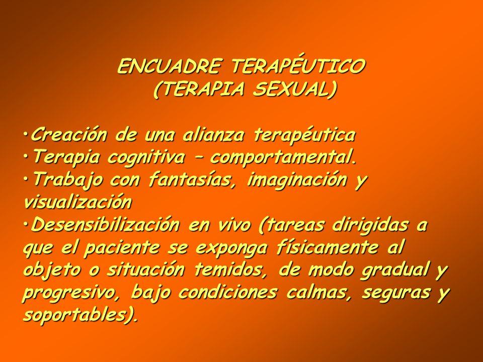 ENCUADRE TERAPÉUTICO (TERAPIA SEXUAL) Creación de una alianza terapéuticaCreación de una alianza terapéutica Fijar las características del encuadreFij