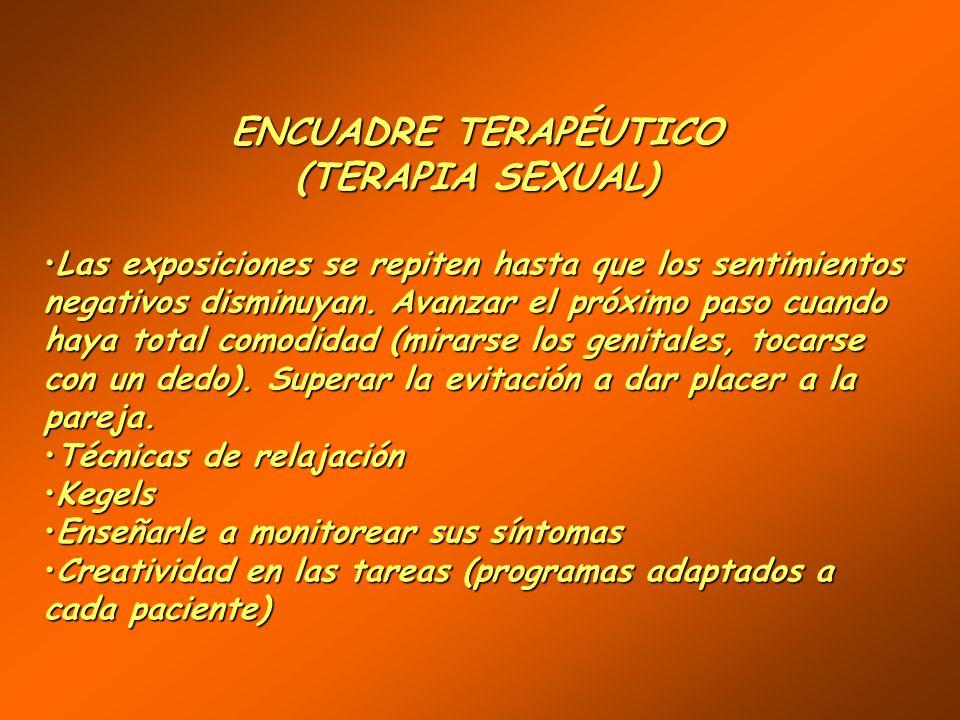 ENCUADRE TERAPÉUTICO (TERAPIA SEXUAL) (TERAPIA SEXUAL) Creación de una alianza terapéuticaCreación de una alianza terapéutica Terapia cognitiva – comp