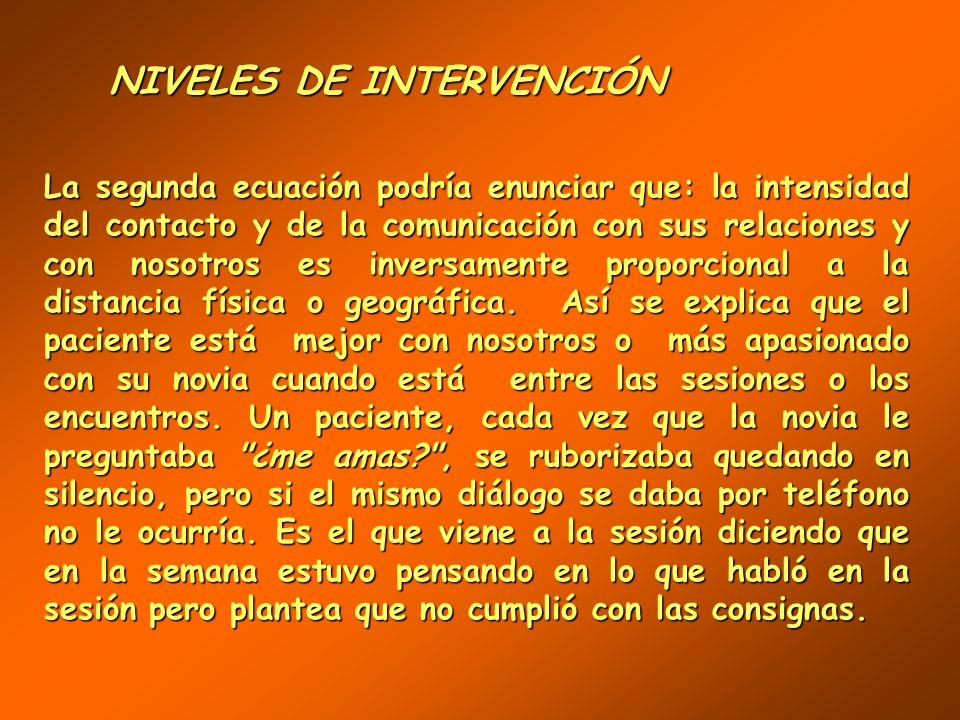 NIVELES DE INTERVENCIÓN NIVELES DE INTERVENCIÓN Una primera ecuación nos dice que: el monto del contacto y de la comunicación del paciente consigo mis
