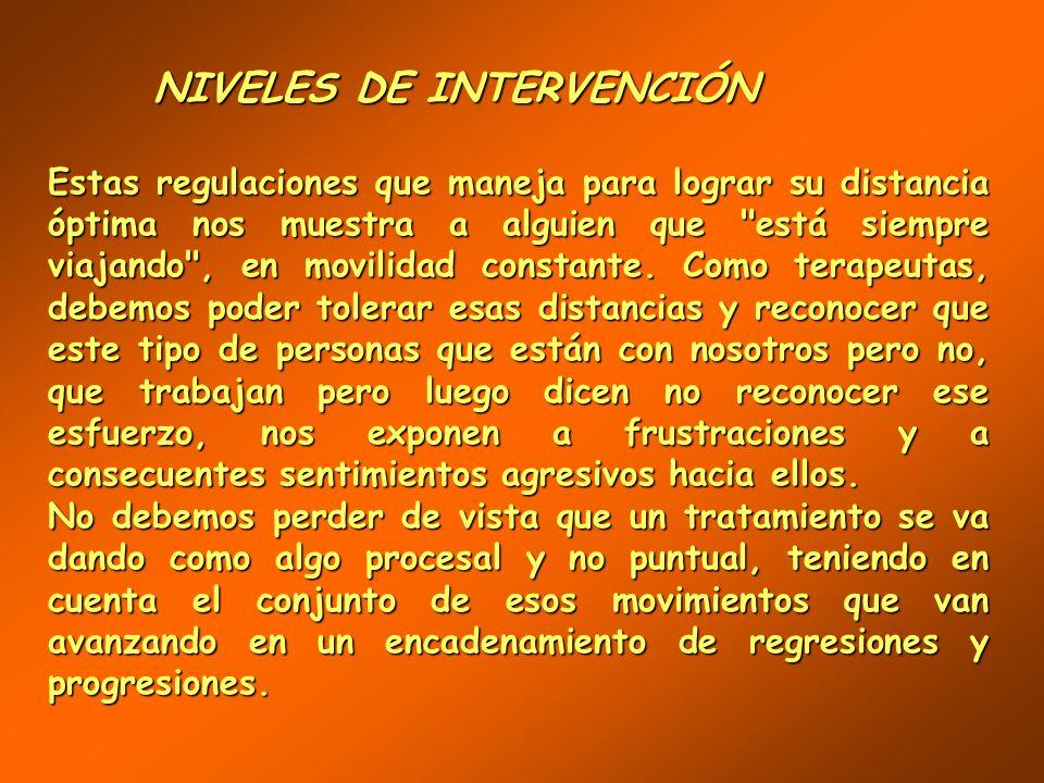 NIVELES DE INTERVENCIÓN NIVELES DE INTERVENCIÓN La segunda ecuación podría enunciar que: la intensidad del contacto y de la comunicación con sus relac