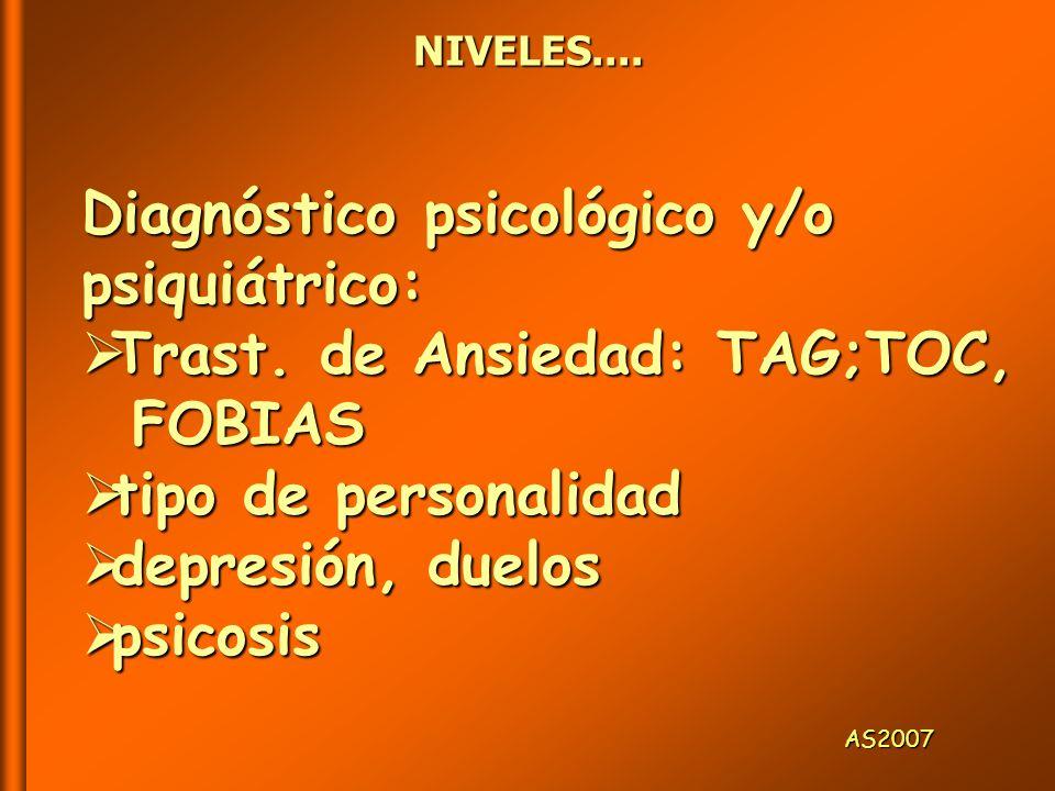 NIVELES....AS2007 Diagnóstico psicológico y/o psiquiátrico: Trast.