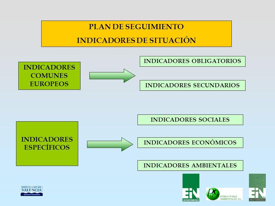 PLAN DE SEGUIMIENTO INDICADORES DE SITUACIÓN INDICADORES COMUNES EUROPEOS INDICADORES OBLIGATORIOS INDICADORES SECUNDARIOS INDICADORES ESPECÍFICOS INDICADORES SOCIALES INDICADORES ECONÓMICOS INDICADORES AMBIENTALES
