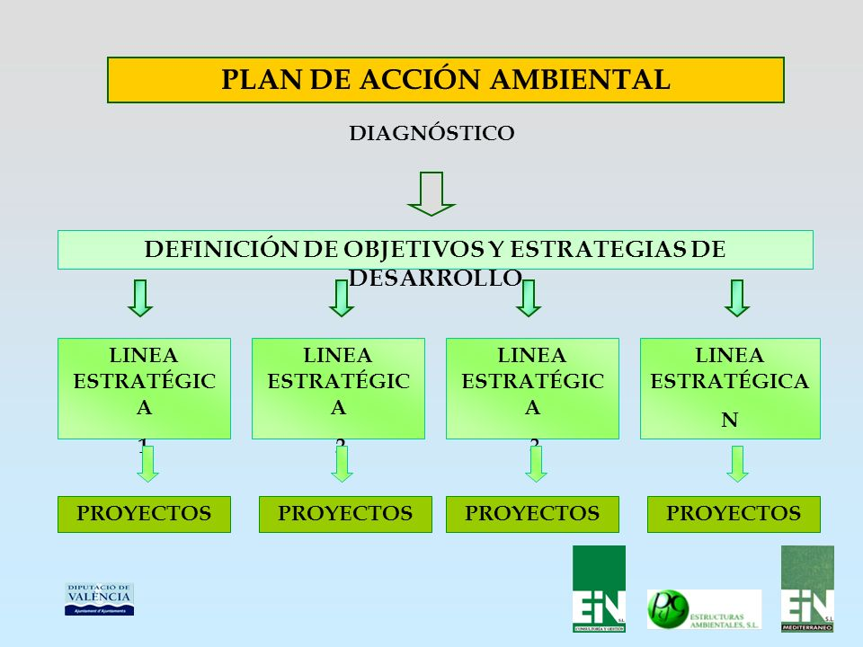 PLAN DE ACCIÓN AMBIENTAL DIAGNÓSTICO DEFINICIÓN DE OBJETIVOS Y ESTRATEGIAS DE DESARROLLO LINEA ESTRATÉGIC A 1 LINEA ESTRATÉGIC A 2 LINEA ESTRATÉGIC A 3 LINEA ESTRATÉGICA N PROYECTOS