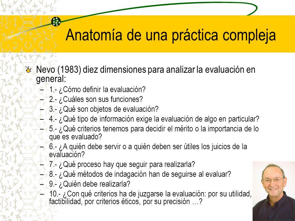 Anatomía de una práctica compleja Nevo (1983) diez dimensiones para analizar la evaluación en general: –1.- ¿Cómo definir la evaluación? –2.- ¿Cuáles