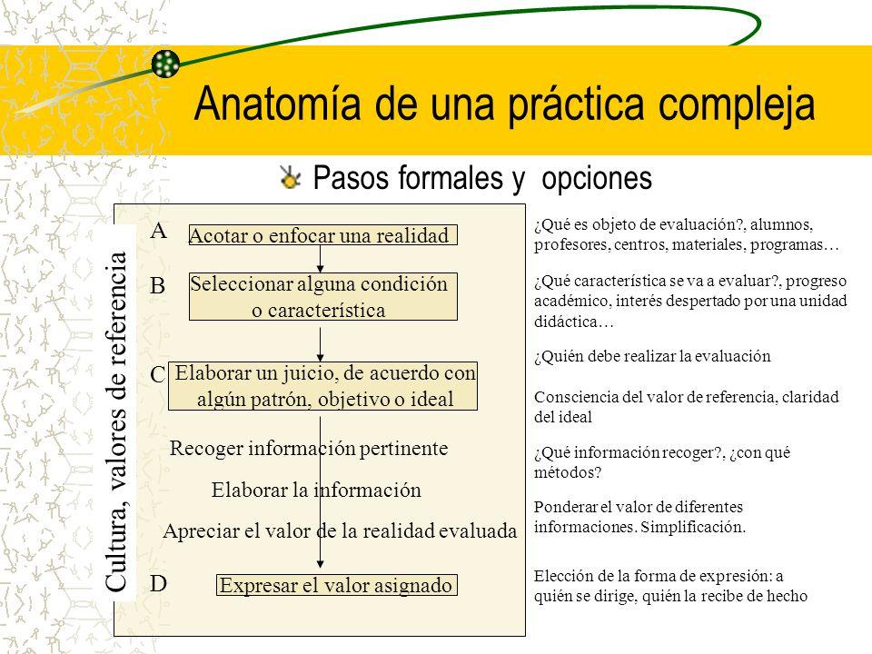Anatomía de una práctica compleja Pasos formales y opciones Acotar o enfocar una realidad Seleccionar alguna condición o característica Elaborar un ju