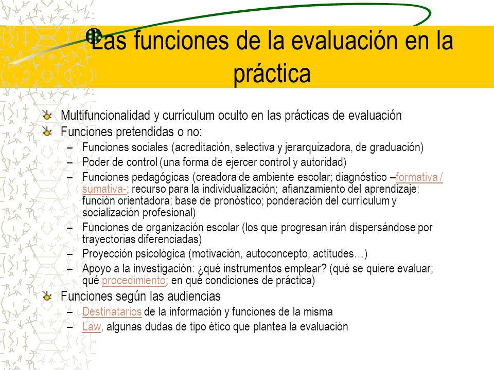 Las funciones de la evaluación en la práctica Multifuncionalidad y currículum oculto en las prácticas de evaluación Funciones pretendidas o no: –Funci