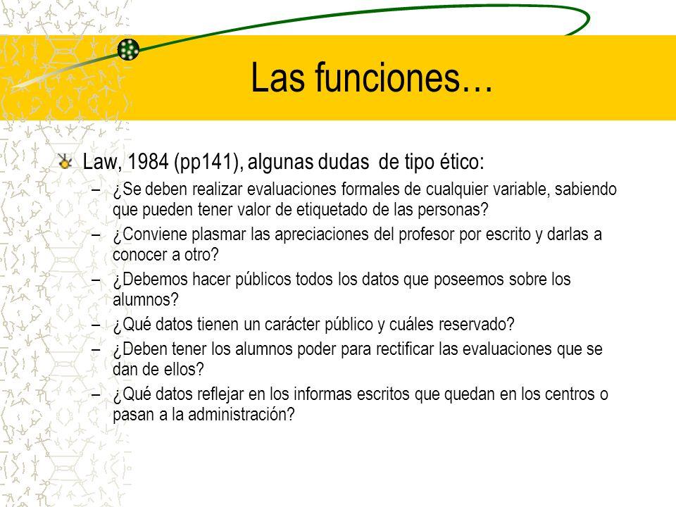 Las funciones… Law, 1984 (pp141), algunas dudas de tipo ético: –¿Se deben realizar evaluaciones formales de cualquier variable, sabiendo que pueden te