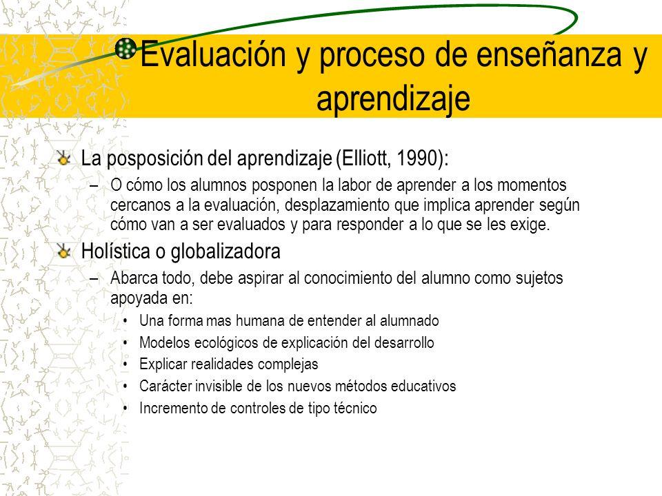Evaluación y proceso de enseñanza y aprendizaje La posposición del aprendizaje (Elliott, 1990): –O cómo los alumnos posponen la labor de aprender a lo