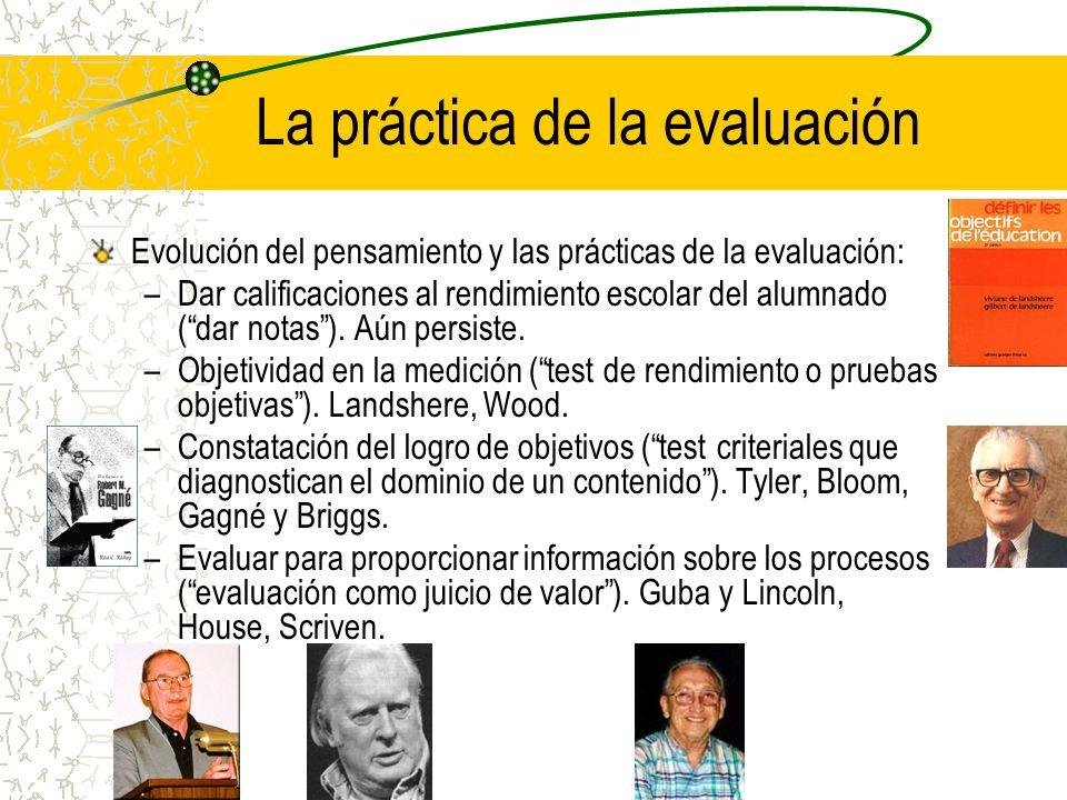 La práctica de la evaluación Evolución del pensamiento y las prácticas de la evaluación: –Dar calificaciones al rendimiento escolar del alumnado (dar
