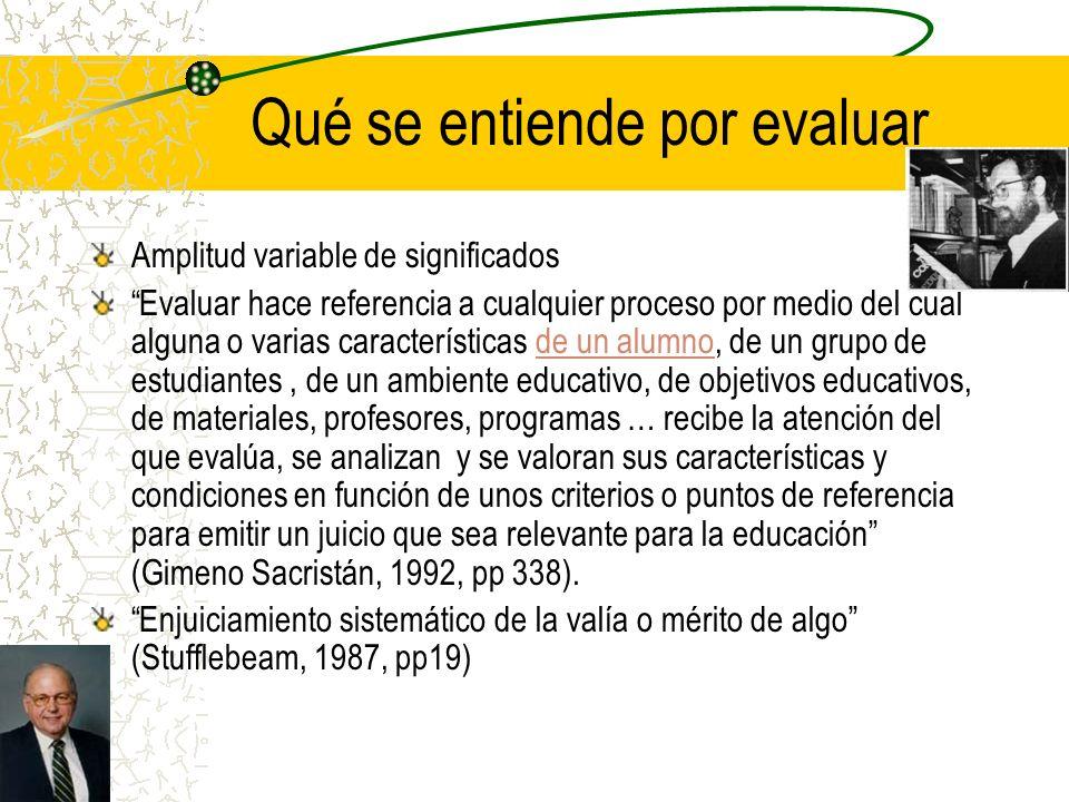Calificación, segregación y selección cultural José Manuel Álvarez (2001): – Evaluamos para conocer, en cualquier contexto y en todos los casos (pp77) Evaluación educativa y práctica democrática –La evaluación es un espacio para compartir conocimiento mutuo sobre el proceso de enseñar y aprender.