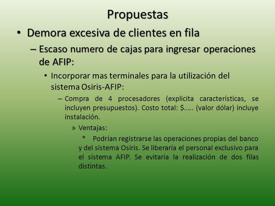 Propuestas Demora excesiva de clientes en fila Demora excesiva de clientes en fila – Escaso numero de cajas para ingresar operaciones de AFIP: Incorporar mas terminales para la utilización del sistema Osiris-AFIP: – Compra de 4 procesadores (explicita características, se incluyen presupuestos).