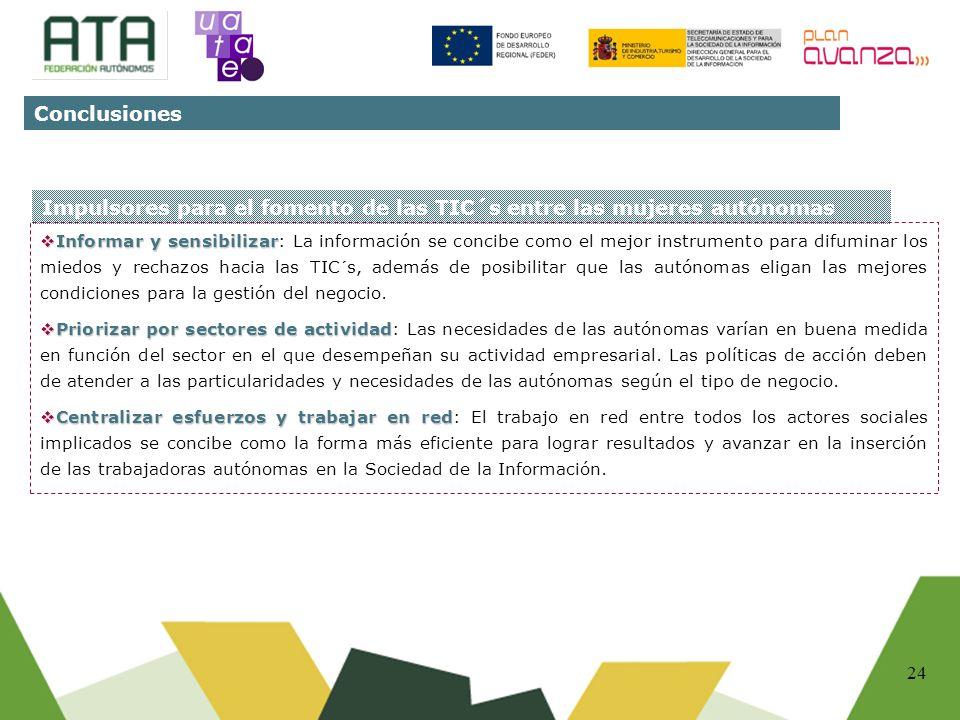 24 Impulsores para el fomento de las TIC´s entre las mujeres autónomas Informar y sensibilizar Informar y sensibilizar: La información se concibe como