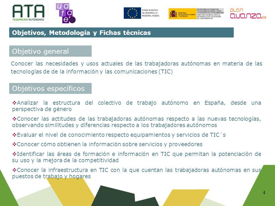 4 Conocer las necesidades y usos actuales de las trabajadoras autónomas en materia de las tecnologías de de la información y las comunicaciones (TIC)
