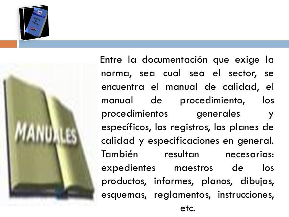 Entre la documentación que exige la norma, sea cual sea el sector, se encuentra el manual de calidad, el manual de procedimiento, los procedimientos g