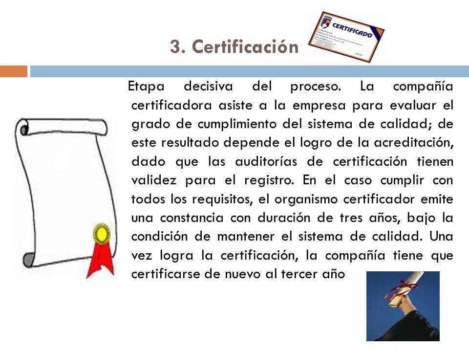 3. Certificación Etapa decisiva del proceso. La compañía certificadora asiste a la empresa para evaluar el grado de cumplimiento del sistema de calida
