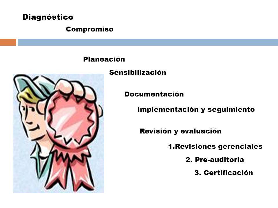 Diagnóstico Compromiso Planeación Sensibilización Documentación Implementación y seguimiento Revisión y evaluación 1.Revisiones gerenciales 2. Pre-aud
