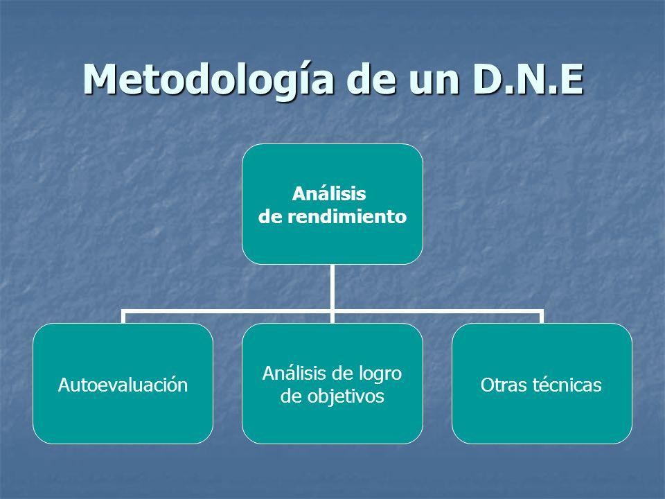 Metodología de un D.N.E Análisis de rendimiento Autoevaluación Análisis de logro de objetivos Otras técnicas