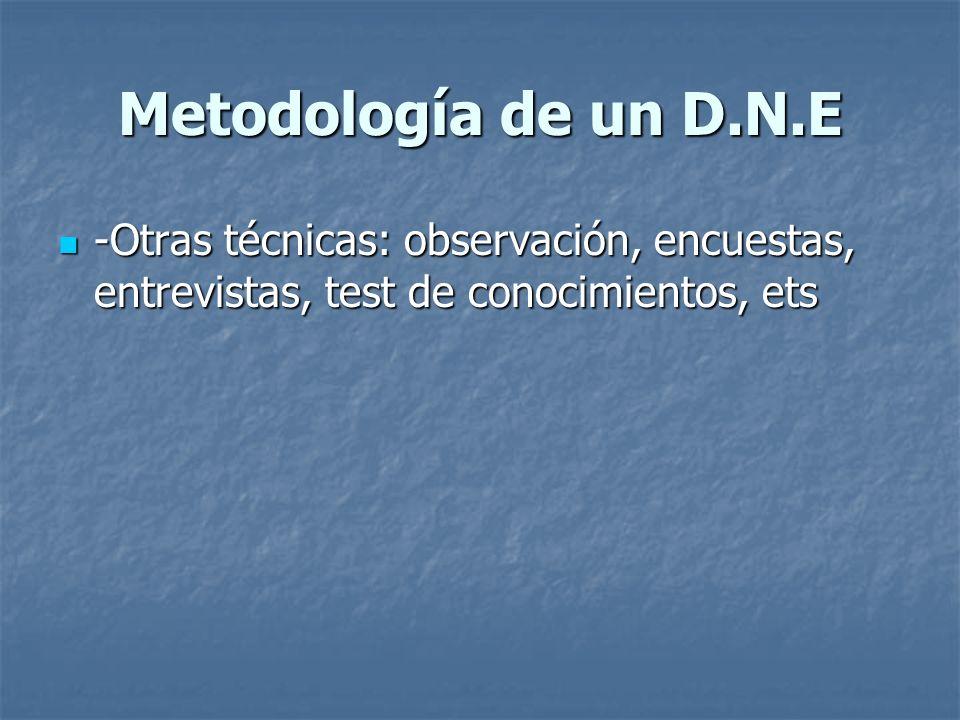 Metodología de un D.N.E -Otras técnicas: observación, encuestas, entrevistas, test de conocimientos, ets -Otras técnicas: observación, encuestas, entr