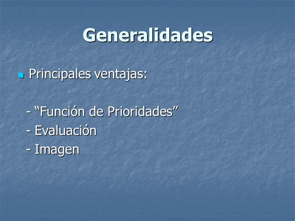 Generalidades Principales ventajas: Principales ventajas: - Función de Prioridades - Función de Prioridades - Evaluación - Evaluación - Imagen - Image