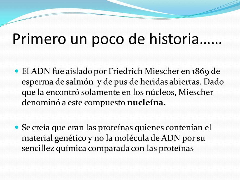 Primero un poco de historia…… El ADN fue aislado por Friedrich Miescher en 1869 de esperma de salmón y de pus de heridas abiertas. Dado que la encontr