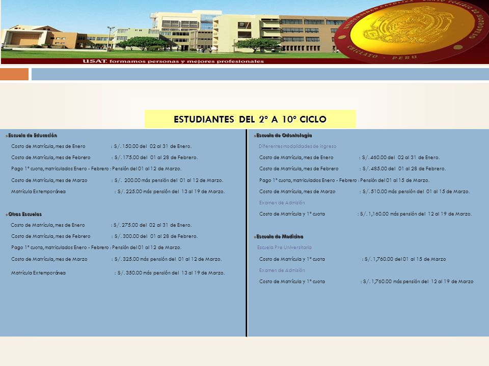 ESTUDIANTES DEL 2º A 10º CICLO Escuela de Educación Escuela de Educación Costo de Matrícula, mes de Enero : S/.