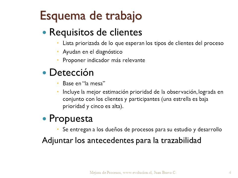Esquema de trabajo Requisitos de clientes Lista priorizada de lo que esperan los tipos de clientes del proceso Ayudan en el diagnóstico Proponer indic