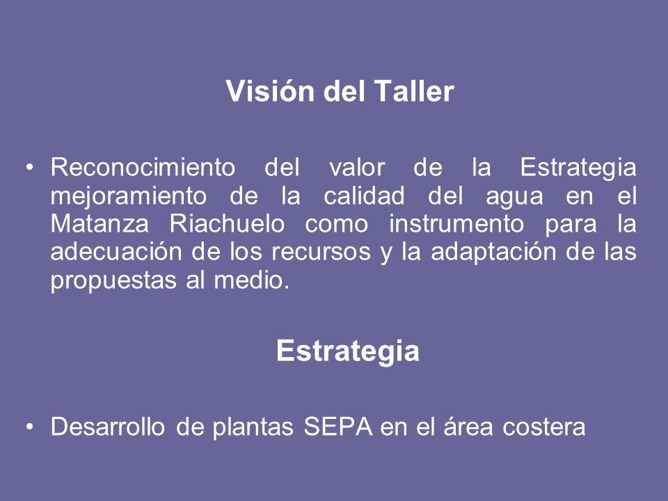 Visión del Taller Reconocimiento del valor de la Estrategia mejoramiento de la calidad del agua en el Matanza Riachuelo como instrumento para la adecu