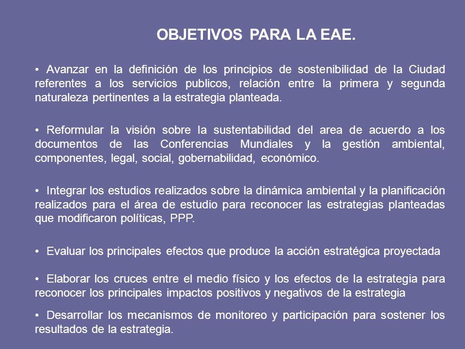 OBJETIVOS PARA LA EAE. Avanzar en la definición de los principios de sostenibilidad de la Ciudad referentes a los servicios publicos, relación entre l