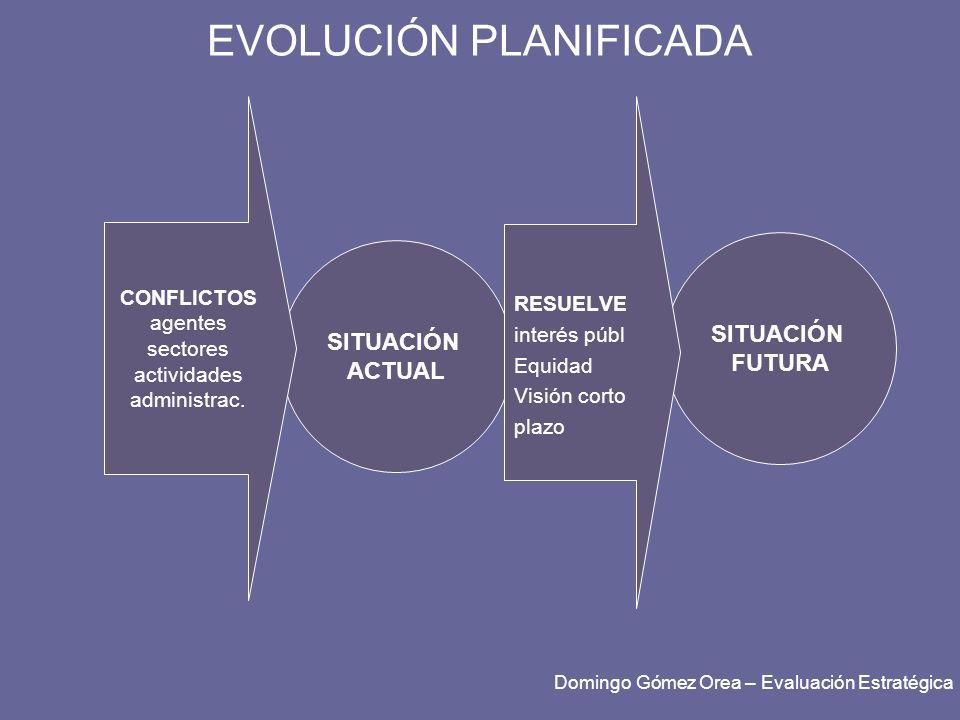 EVOLUCIÓN PLANIFICADA SITUACIÓN ACTUAL CONFLICTOS agentes sectores actividades administrac. SITUACIÓN FUTURA RESUELVE interés públ Equidad Visión cort