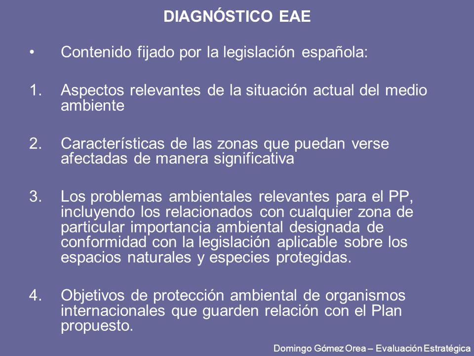DIAGNÓSTICO EAE Contenido fijado por la legislación española: 1.Aspectos relevantes de la situación actual del medio ambiente 2.Características de las