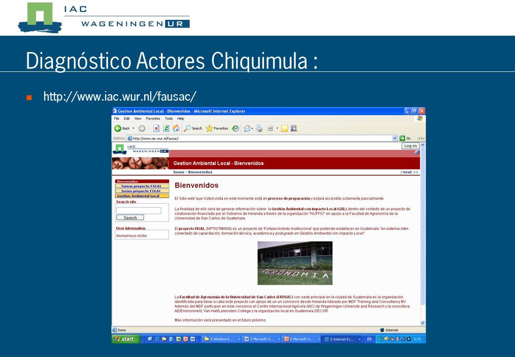 Diagnóstico Actores Chiquimula : Resultado esperado del taller: Utilización de algunas herramientas de análisis participativo Algún conocimiento de la metodología participativa RAAKS Un análisis de la red de actores en Chiquimula