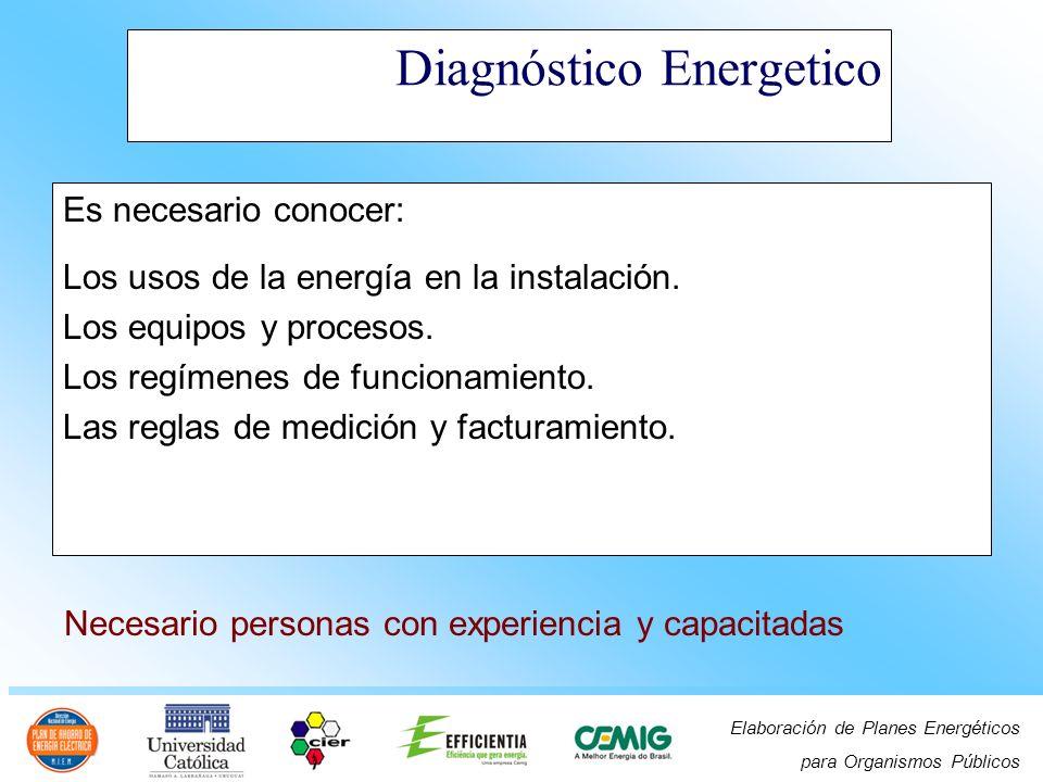 Elaboración de Planes Energéticos para Organismos Públicos Diagnóstico Energetico Es necesario conocer: Los usos de la energía en la instalación. Los