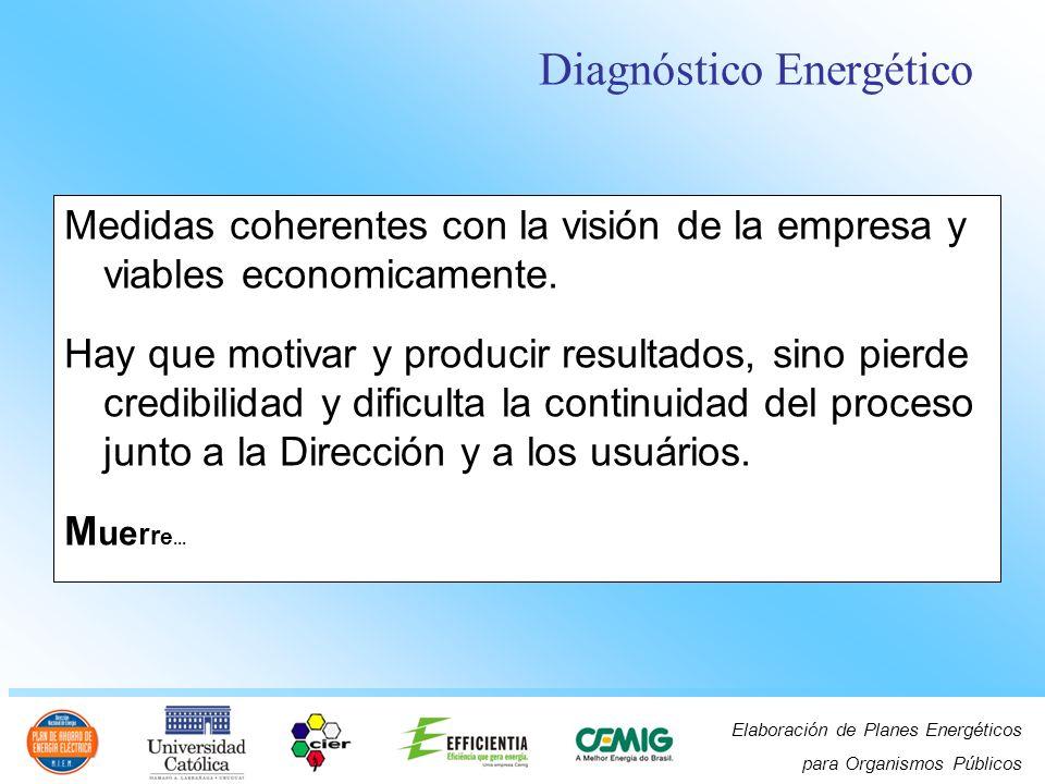 Elaboración de Planes Energéticos para Organismos Públicos Medidas coherentes con la visión de la empresa y viables economicamente. Hay que motivar y