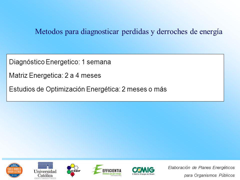 Elaboración de Planes Energéticos para Organismos Públicos Metodos para diagnosticar perdidas y derroches de energía Diagnóstico Energetico: 1 semana