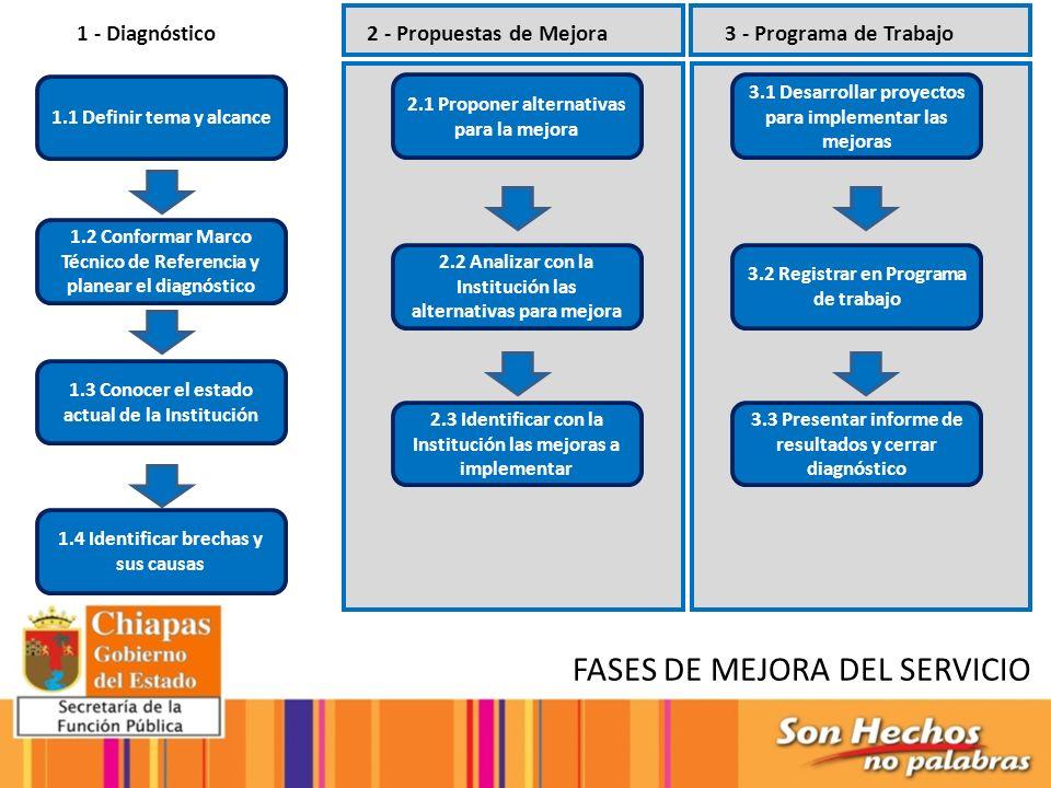1.1 Definir tema y alcance 1.2 Conformar Marco Técnico de Referencia y planear el diagnóstico 1.3 Conocer el estado actual de la Institución 1.4 Ident