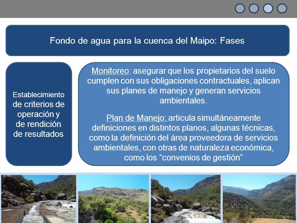 Establecimiento de criterios de operación y de rendición de resultados Monitoreo: asegurar que los propietarios del suelo cumplen con sus obligaciones contractuales, aplican sus planes de manejo y generan servicios ambientales.