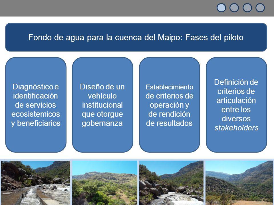 Diagnóstico e identificación de servicios ecosistemicos y beneficiarios Diseño de un vehículo institucional que otorgue gobernanza Establecimiento de criterios de operación y de rendición de resultados Definición de criterios de articulación entre los diversos stakeholders Fondo de agua para la cuenca del Maipo: Fases del piloto