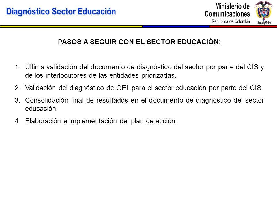 Diagnóstico Sector Educación PASOS A SEGUIR CON EL SECTOR EDUCACIÓN: 1.Ultima validación del documento de diagnóstico del sector por parte del CIS y d