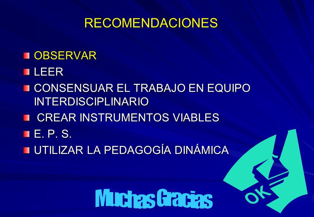 RECOMENDACIONES OBSERVARLEER CONSENSUAR EL TRABAJO EN EQUIPO INTERDISCIPLINARIO CREAR INSTRUMENTOS VIABLES CREAR INSTRUMENTOS VIABLES E. P. S. UTILIZA