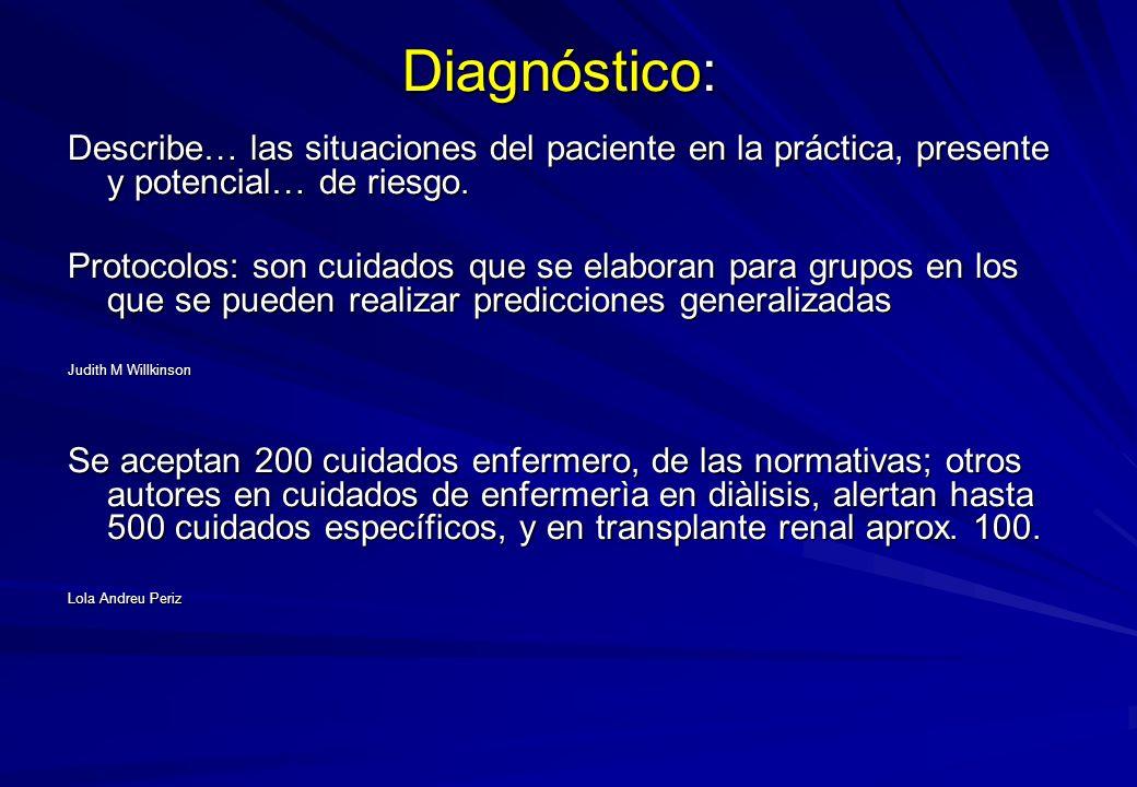 Diagnóstico: Describe… las situaciones del paciente en la práctica, presente y potencial… de riesgo. Protocolos: son cuidados que se elaboran para gru