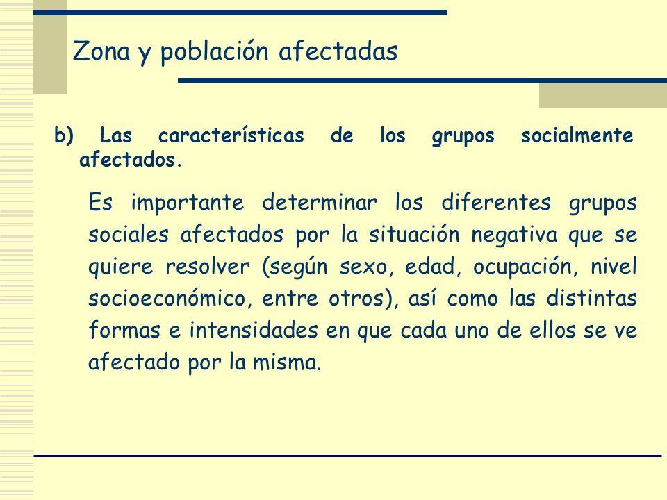 Zona y población afectadas b) Las características de los grupos socialmente afectados. Es importante determinar los diferentes grupos sociales afectad